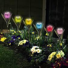 amazing garden lighting flower. Giardino Tulipano A Forma Di Fiore LED Ad Energia Solare Luci Da Esterno  Cortile Amazing Garden Lighting Flower
