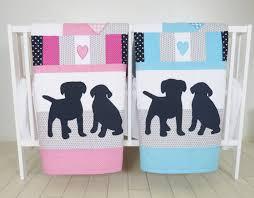 puppy baby quilt dog twin crib bedding labrador kids blanket aqua dark blue gray and pink patchwork organic infant bedding