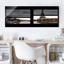 Glasbild Fensterausblick Jalousie Seine Und Eiffelturm