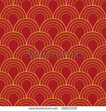 red and gold art deco wallpaper
