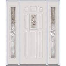 white front doorsWhite  8 Panel  Single door with Sidelites  Front Doors