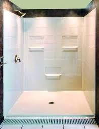 custom fiberglass shower pan five piece x barrier free shower with 1 inch beveled design from