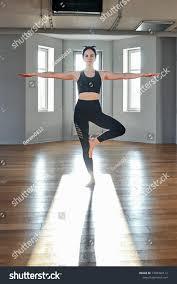 Light Pilates Yoga Studio Morning Yoga Girl Doing Stretching Exercises Stock Photo