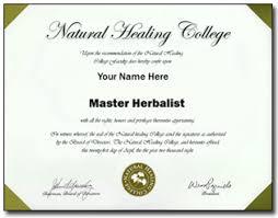 master herbalist degree vs diploma online natural healing college master herbalist practitioner diploma certificate image