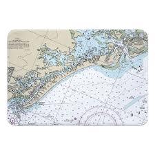 Fl Estero Island Fort Myers Beach Fl Nautical Chart Memory Foam Bath Mat