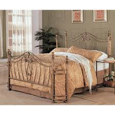 metal bed headboard queen. Brilliant Bed Queen Size Metal Bed With Headboard And Footboard In Antique Brushed Gold  Finish Intended