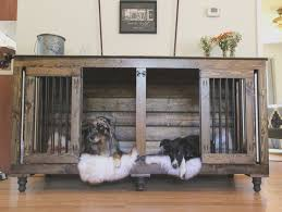the double doggie den indoor rustic dog kennel for two dog crate end table