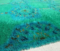 blue green mod rya rug