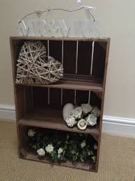 rustic wooden apple crate with 2 internal shelves