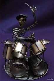 >alternative decor drummer skeleton sculpture skeleton metal  2ndchancemetalart by boston sculptor eric harty