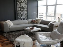Monochrome Living Room Decorating Light Gray Living Room Sloped Window Mid Century Modern Sofa