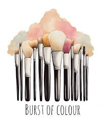 400x477 makeup brushes ilration art print sketch