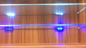 Led Floating Glass Shelves Blue LED Lights Edge Lit Glass cabinet shelf Backlighting How to 60