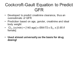 croft gault equation to predict gfr