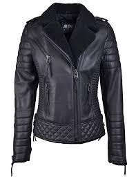 venus shearling black leather biker jacket