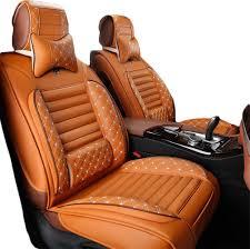 5 seats pu leather car seat cover universal leather car seat cushion full set car seat mat waterproof ventilate car seat protector orange
