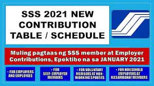 sss 2021 new contribution table sss