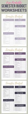 College Student Budget Free Printable College Semester Budget Worksheets Organize Your 17