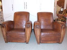 leather club chairs vintage. F350 - Pair Of Vintage French Leather Club Chairs