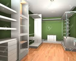 empty walk in closet. Empty Interior Modern Room For Walk In Closet With Shelves And Green Wall. Stock Photo