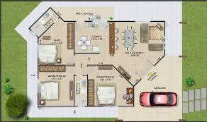 plano de casa de co de tres dormitorios