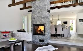 Fireplace In Middle Of Living Dining Room For Remodel 2