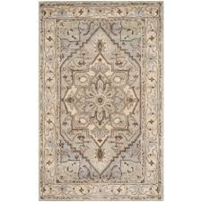 safavieh heritage collection grey and beige area rug 5x8 hand tufted wool