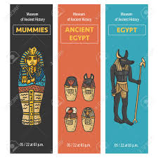 Canopic Jar Designs Vector Set Of Thee Bookmarks Design With Ancient Egypt Symbols