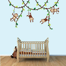 amazoncom  green and brown monkey wall decal for baby nursery or