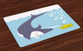 Yellow Submarine Placemats Set Of 4 Shark With Vessel In Ocean Bubbles Under Sea Theme Animals Cartoon Washable Fabric Place Mats For Dining Room