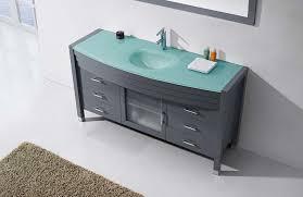 virtu usa ava 61 single bathroom vanity in grey with aqua tempered glass top and