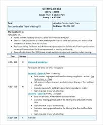 Teacher Leader Team Meeting Example Agenda Template Education ...