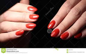 Classic Design Nails Classic Red Manicure Design For Woman Stock Photo Image Of