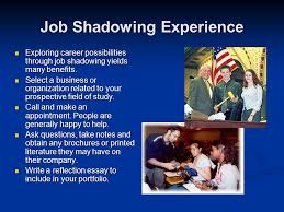 career portfolio project ppt video online  job shadowing experience