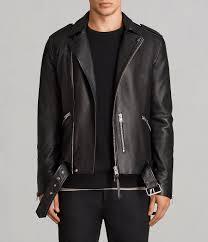 mens kaho leather biker jacket black image 1