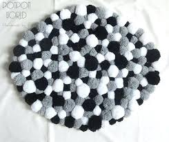 black and white rug with tassels pom pom rug fluffy carpet white grey black by black and white rug with tassels