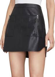 bcbg max azria sabina knit faux leather mini skirt