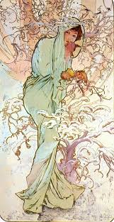 the four seasons winter oil painting by famous artist alphons maria mucha