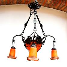 art nouveau style chandelier blown glass wrought iron oled vigne cone by hugues thieffry