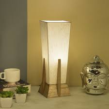 Homesake Bedside Table Lamp Retro Style Mango Natural Wood Pyramid