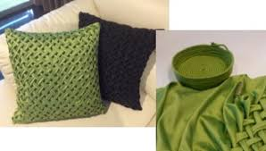 after robin s visit kath smith created a wrapped rope basket to go with cushion covers she made using the canadian smocking technique