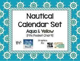 Yellow Calendar Pocket Chart Nautical Calendar Set Aqua And Yellow Fits Pocket Chart