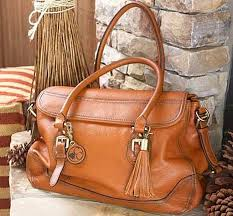 smooth aged leather satchel