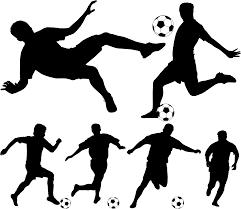 フリーイラスト 6種類のサッカー選手のシルエットのセットでアハ体験