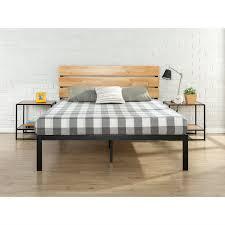 metal platform bed frame. King Size Modern Metal Platform Bed Frame With Wood Headboard And Slats