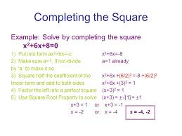 completing the square this is one way to solve a quadratic equation steps 1 5 completing