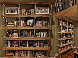 Industrial Bookcase Diy Diy Industrial Rustic Bookshelf Reclaimed Lumber Threaded