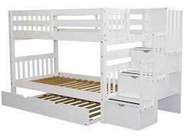 bunk bed with trundle and stairs. Simple Bunk Stairway Twin Over Bunk Bed White With Trundle Intended With And Stairs N