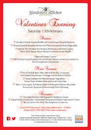 Gardeners Kitchen Valentines Evening Menu