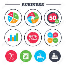 Washing Chart Business Pie Chart Growth Graph Hotel Services Icons Washing